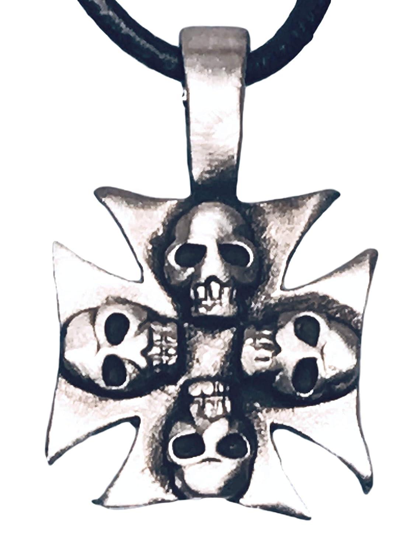 Croix de fer en /étain avec t/êtes de mort Pendentif sur collier de cuir