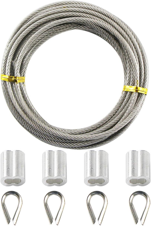uooom 5m Flexible de acero inoxidable Cable Cuerda de alambre 3mm de diámetro con revestimiento de PVC