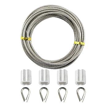 uooom 5 m Flexible de acero inoxidable Cable Cuerda de ...