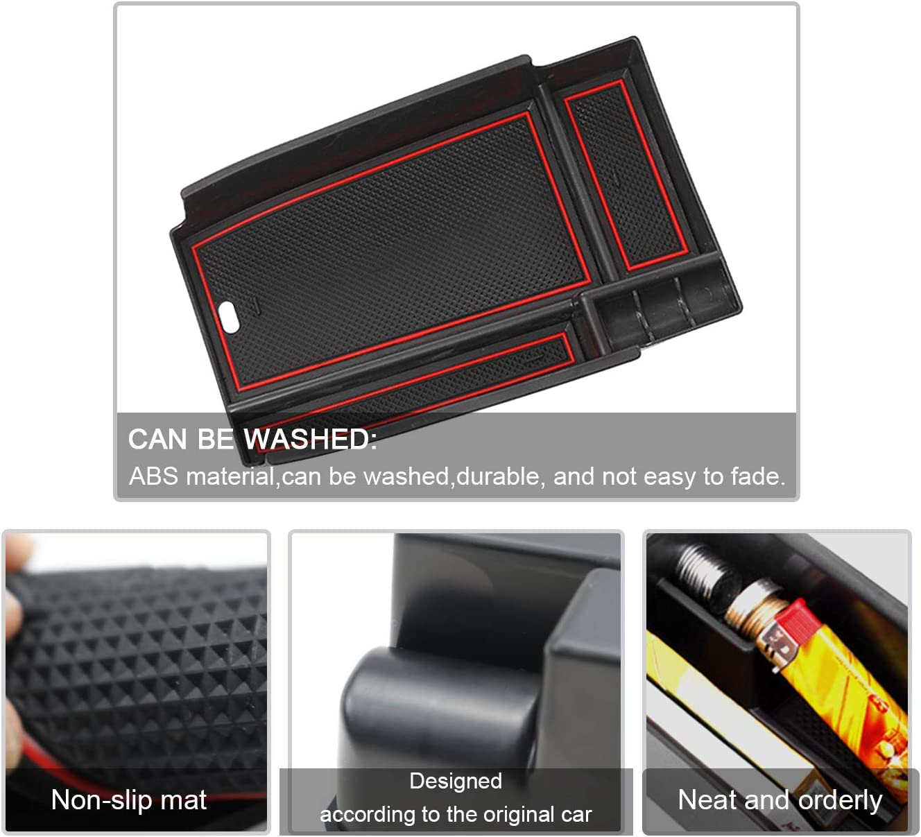 ABS Tray Armrest Box Secondary Storage Coin Holder CDEFG Center Console Organizer Tray for 2020 Escape