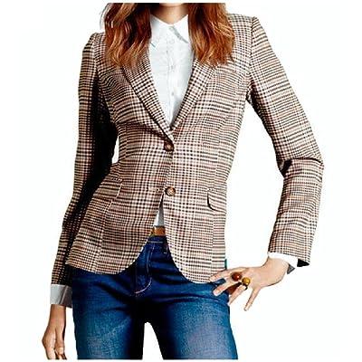 Abetteric Women's Classic Plaid 2 Button Long Sleeve Blazer Coat Jacket