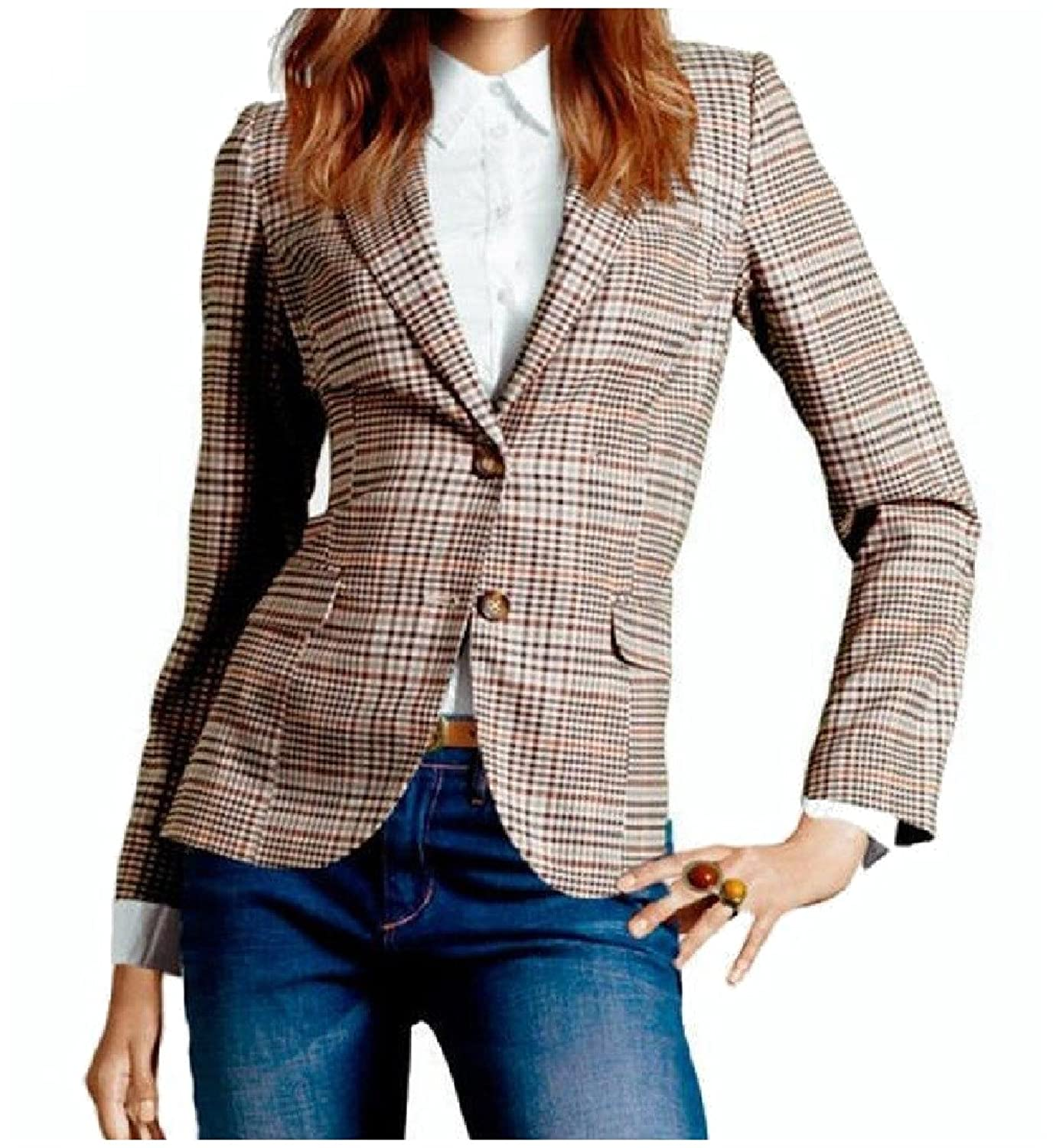 Abetteric Women's Classic Plaid 2 Button Long Sleeve Blazer Coat Jacket