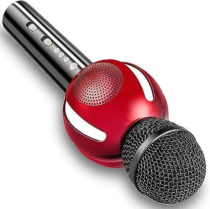 moresky Karaoke micrófono altavoz bluetooth inalámbrico de mano micrófono máquina para Apple Iphone Android Samsung Smartphone iPad PC Smart TV hogar KTV Cantar, apoyo APP Música y Tarjeta de TF: Amazon.es: Instrumentos