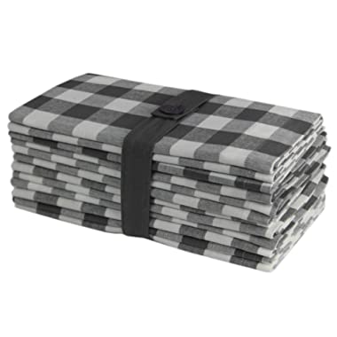 COTTON CRAFT 12 Pack Gingham Checks Oversized Dinner Napkins - Grey- Size 20x20-100% Cotton - Tailored with Mitered Corners and a Generous Hem - Easy Care Machine wash