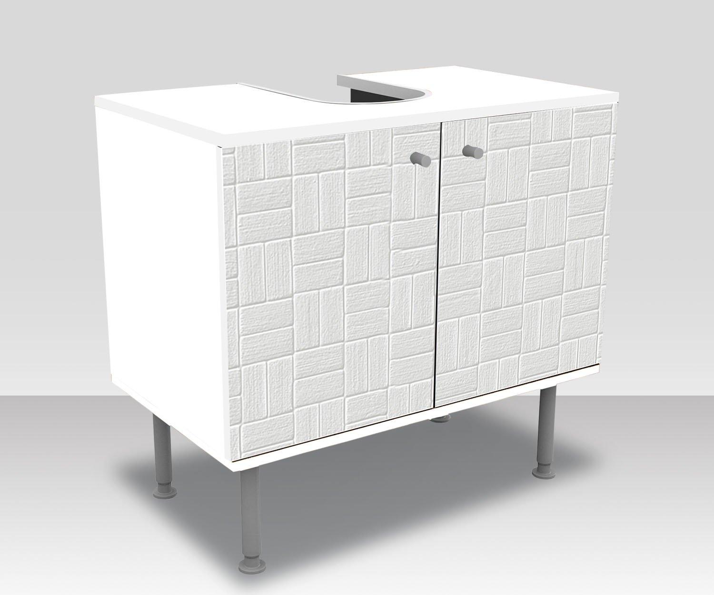 Wandmotiv24 Badunterschrank Weißes dekoratives Muster Muster Muster Designschrank Bad Unterschränke Front- & Seitenbeklebung Waschbeckenunterschrank ffb23d