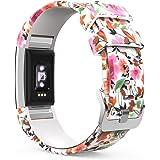 """MoKo Bracelet Compatible avec Fitbit Charge 2, Watch Band de Remplacement Ajustable en Silicone Souple, Suivi de la Fréquence Cardiaque 5.70""""-8.26"""" (145mm-210mm), Fleurs de Printemps"""