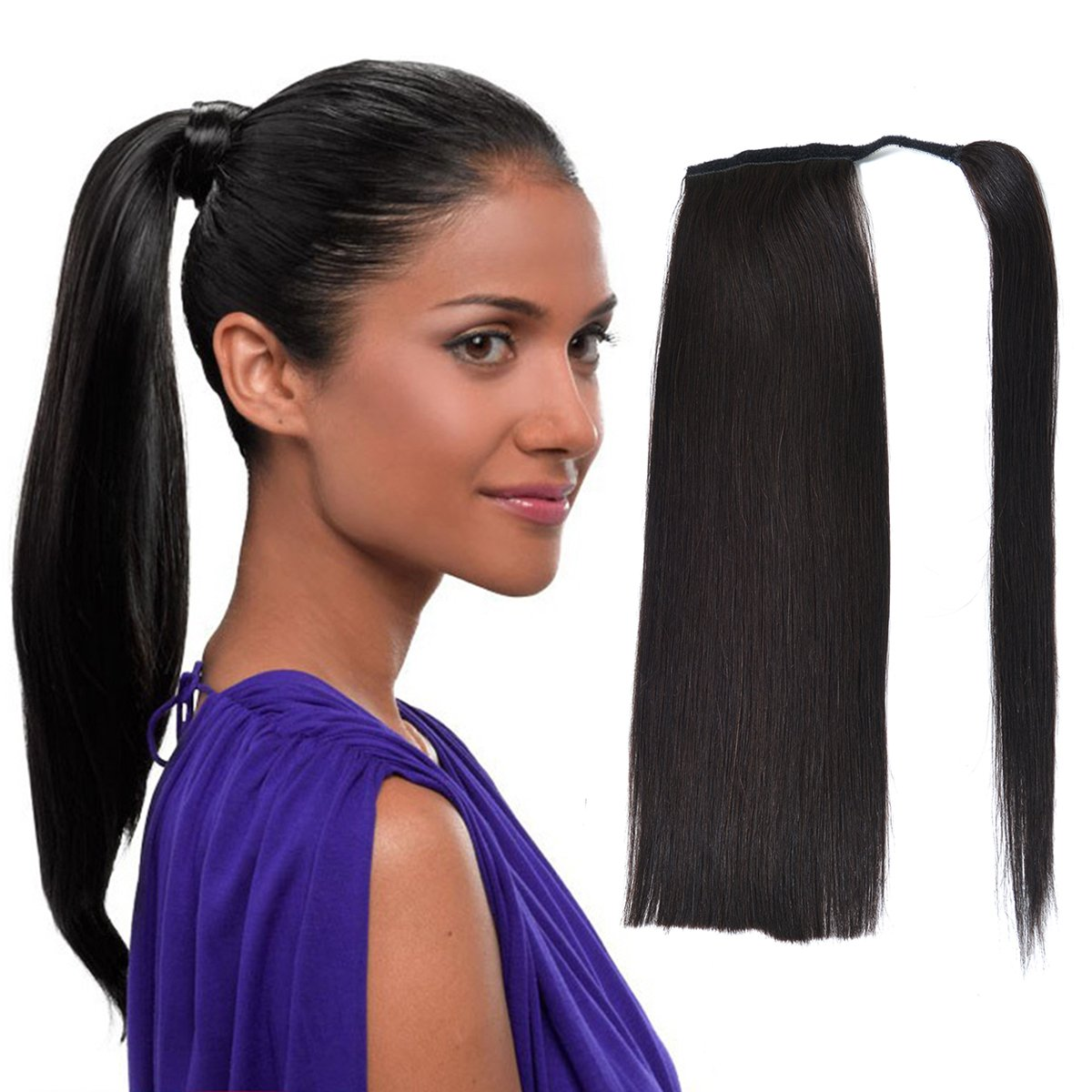 Amazon Com 22 Human Hair Ponytail Wrap Around Clip In Ponytail Hair Extensions For Women Off Black 1b 100g 3 5oz Beauty