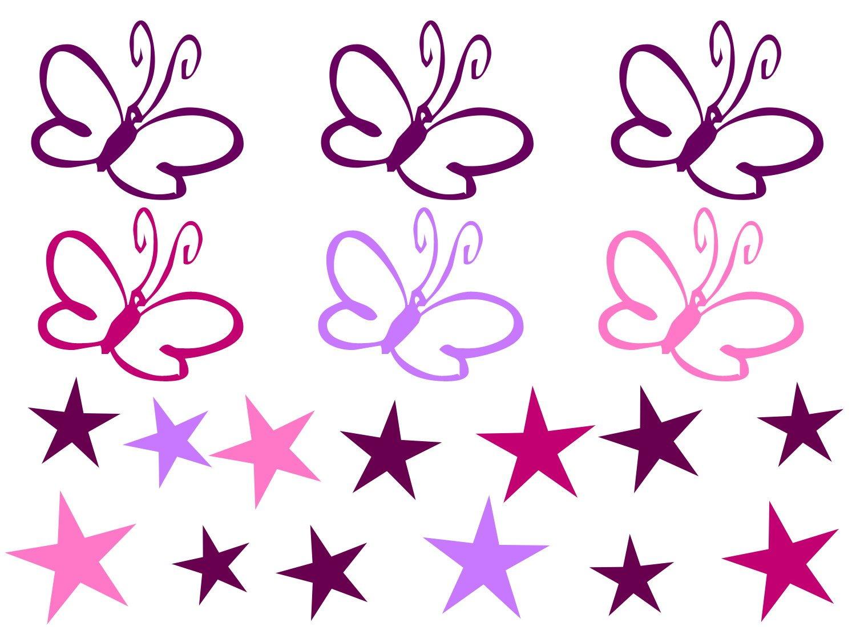 Aufkleber Wandsticker 13 Sterne Und 6 Schmetterlinge In  Lila,Pink,Rosa,Flieder Größe