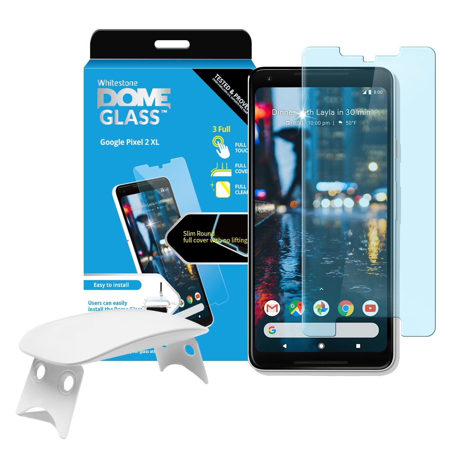 Dome Glass Google Pixel 2 XL Screen Protector Tempered Glass Shield, [Liquid Dispersion Tech] 2.5D Edge of Screen Coverage, Easy Install Kit and UV Light by Whitestone for Google Pixel 2 XL (2017) by Dome Glass