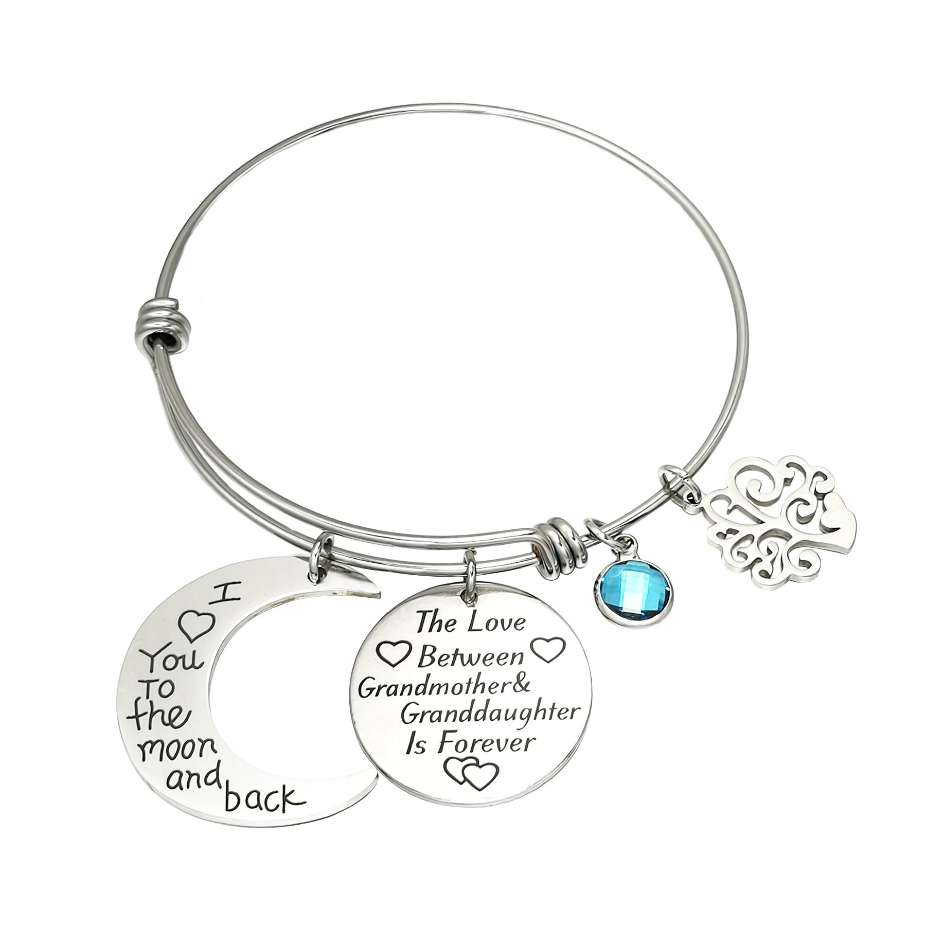 I Love You to The Moon and Back Mom Bangle Bracelets Mothers Day Gifts The Love Between Mother&Daughter is Forever Stainless Steel 4 Style (The Love Between Grandmother&Granddaughter is Forever)