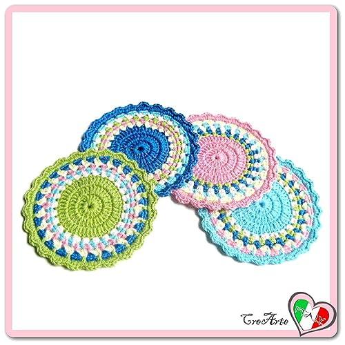 Set 4 posavasos de colores de ganchillo en algodón - Tamaño ...