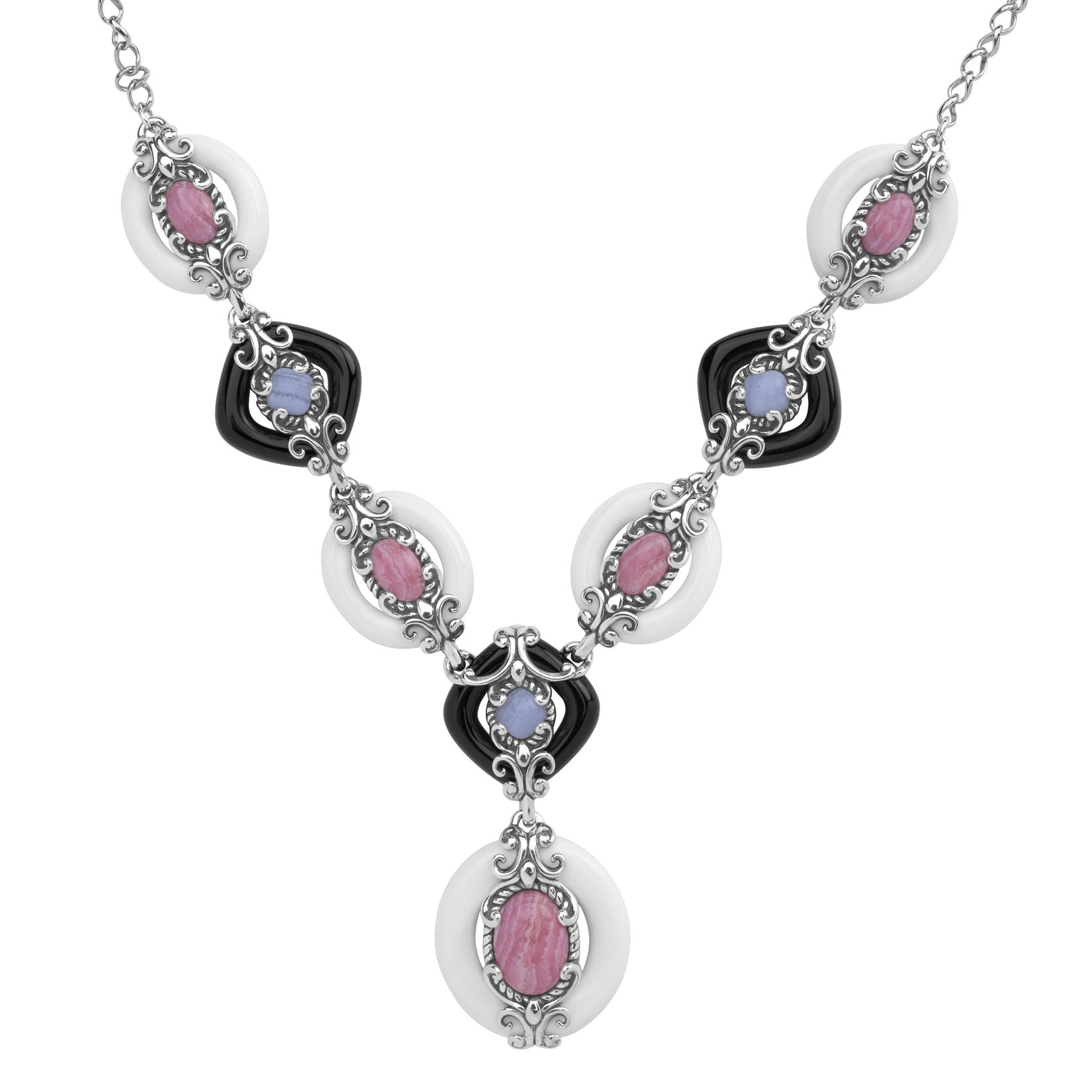 Carolyn Pollack Sterling Silver White & Black Agate with Pink Rhodochrosite & Blue Lace Agate Gemstone''Y'' Necklace