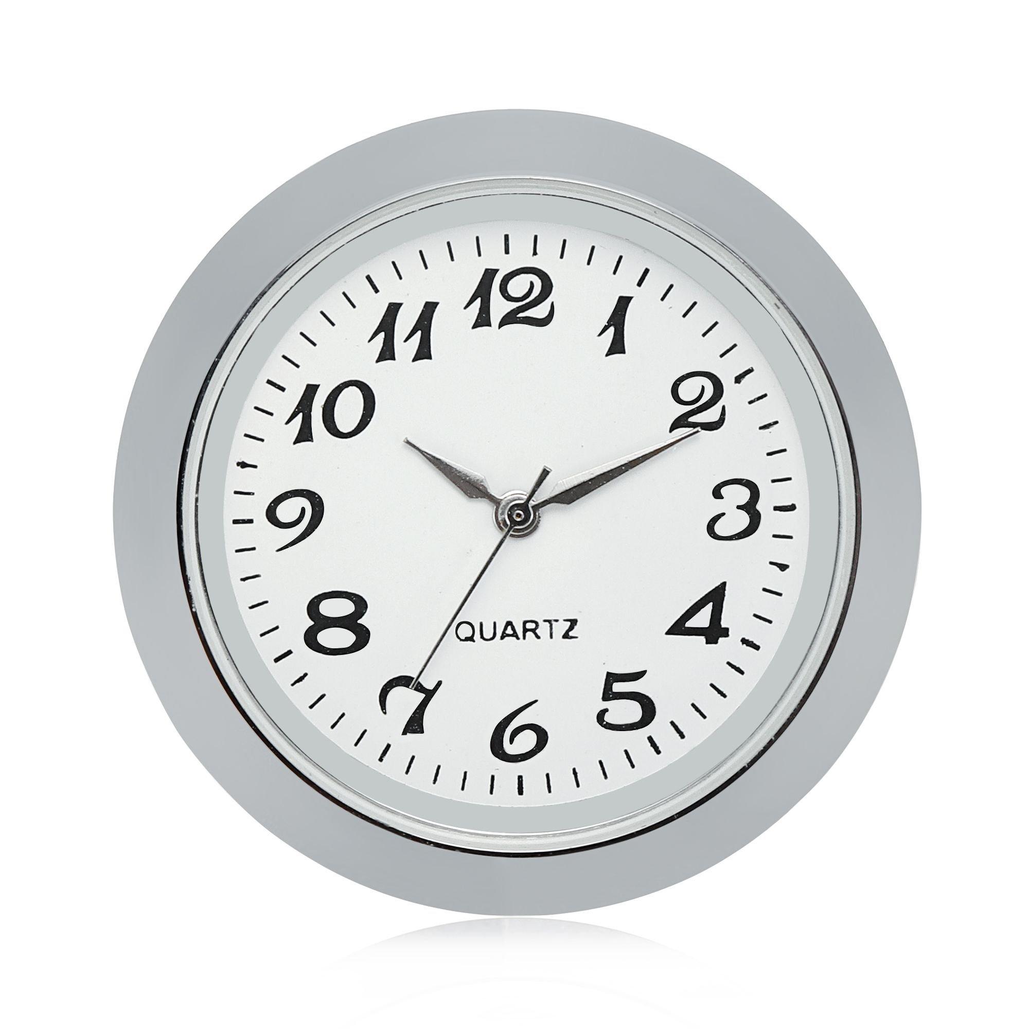 "ShoppeWatch Mini Clock Insert Quartz Movement Round 1 7/16"" (35mm) Miniature Clock Fit Up White Face Silver Tone Bezel Arabic Numerals CK095SL"