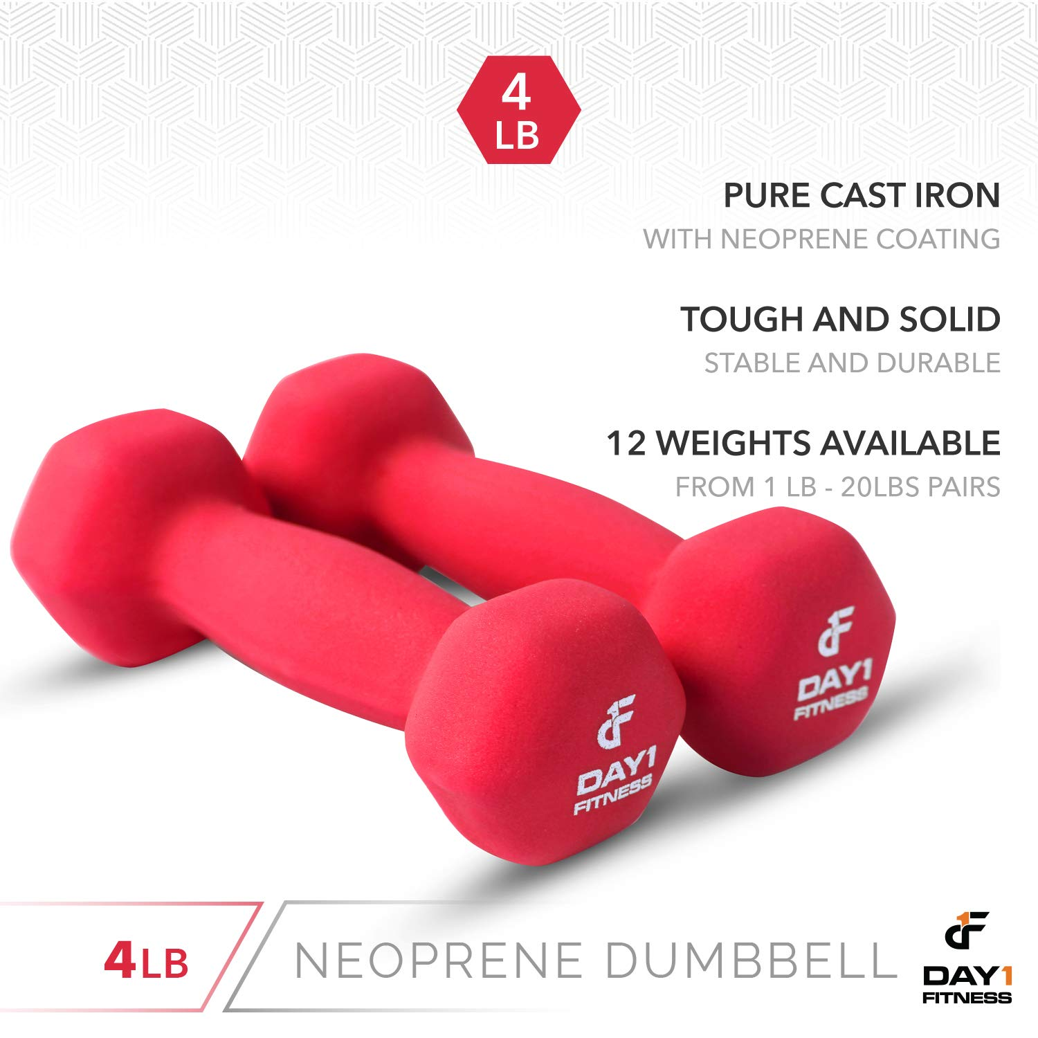 Strength Building Neoprene Dumbbell Pairs by Day 1 Fitness Color Coded Hexagon Shape Easy To Read Hand Weights for Muscle Toning 12 Sizes of Pairs Available Weight Loss 1-20 Pounds Non-Slip