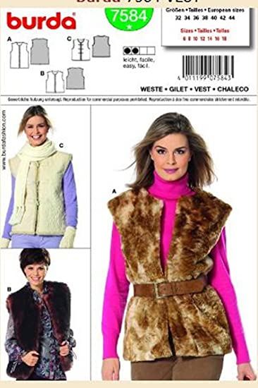 Amazon Burda Sewing Pattern 7584 Faux Fur Vest Size 6 8 10 12