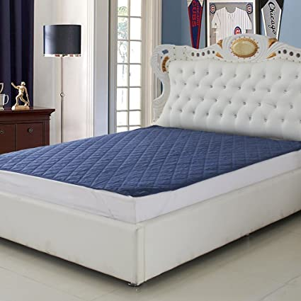 Craft Jaipur Waterproof Mattress Protector for King Size Bed 72x78 with Elastic Bands(White) (Blue)