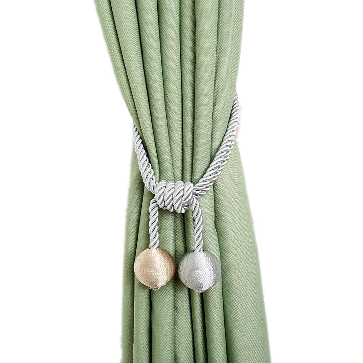 Fongbay a pair of 2 New style hanging rope curtain adornment hang ball Pack Window Rope Holdbacks and curtain tassel tiebacks(grayish)