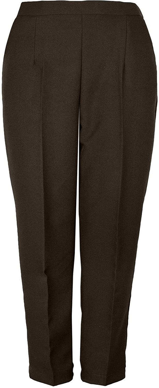 Kirkwood Of Scotland Ladies Womens Half Elasticated Trouser Stretch Waist Casual Office Work Formal Trousers Pants with Pockets Plus Big Size 10-24