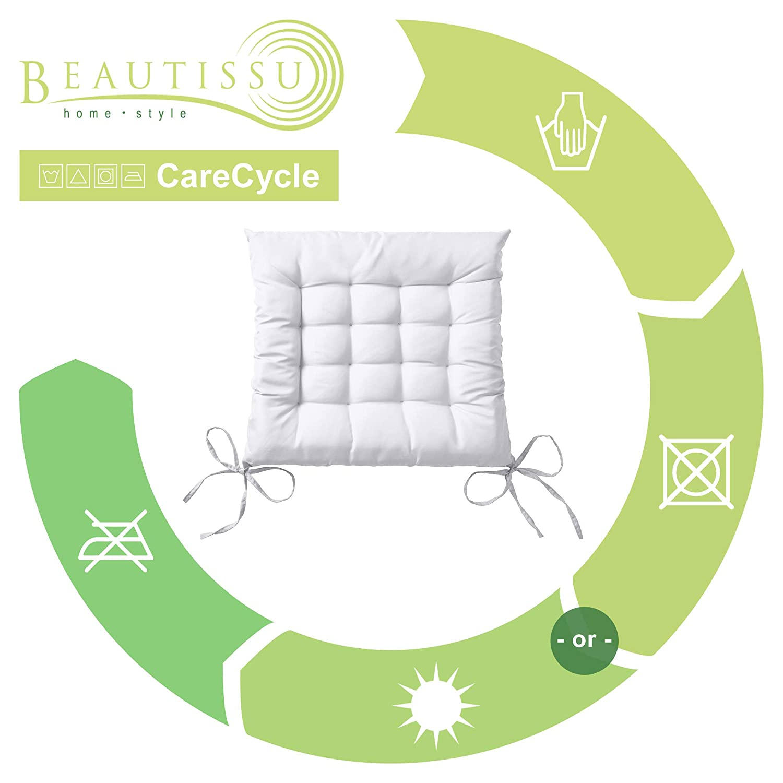 Beautissu Set 4 Lea - comodísimos Cojines para sillas - Vivienda o terraza - 40 x 40 x 5 cm - Ecru