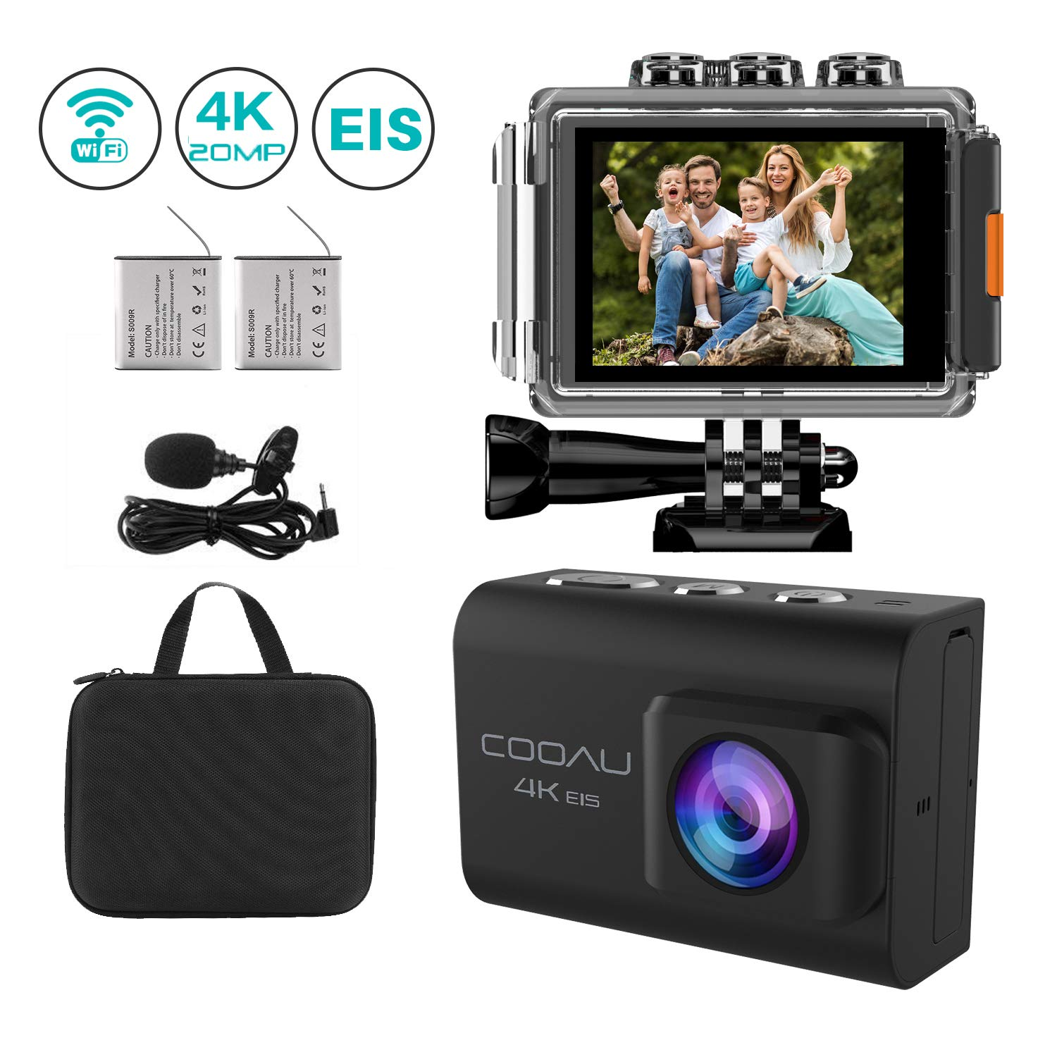 COOAU 4K 20MP WiFi Action Camera Ultra HD Sports Camera 170°Wide-Angle Lens 98ft Underwater Camcorder, EIS Sony Sensor, External Mic, Travel Bag Includes mounting Accessories and 2 Upgraded Batteries