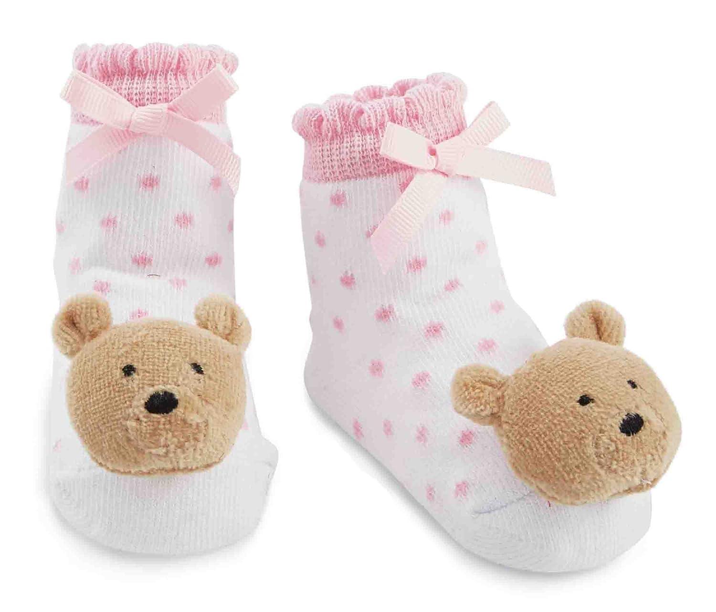 Amazon Com Mud Pie Baby Girls Newborn Bear Rattle Socks Pink Bear