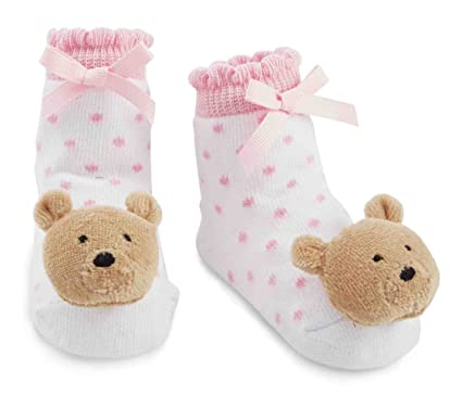 Amazon Com Mud Pie Baby Girls Newborn Bear Rattle Socks Pink Bear