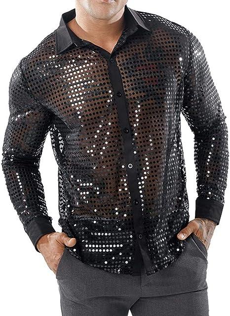 MUMU-001 Camisas con Purpurina de Lentejuelas para Hombres Camisa Transparente con Adornos Camisa Transparente para Hombres Sexy para Hombres Discoteca Etapa Baile de Baile Chemise: Amazon.es: Deportes y aire libre