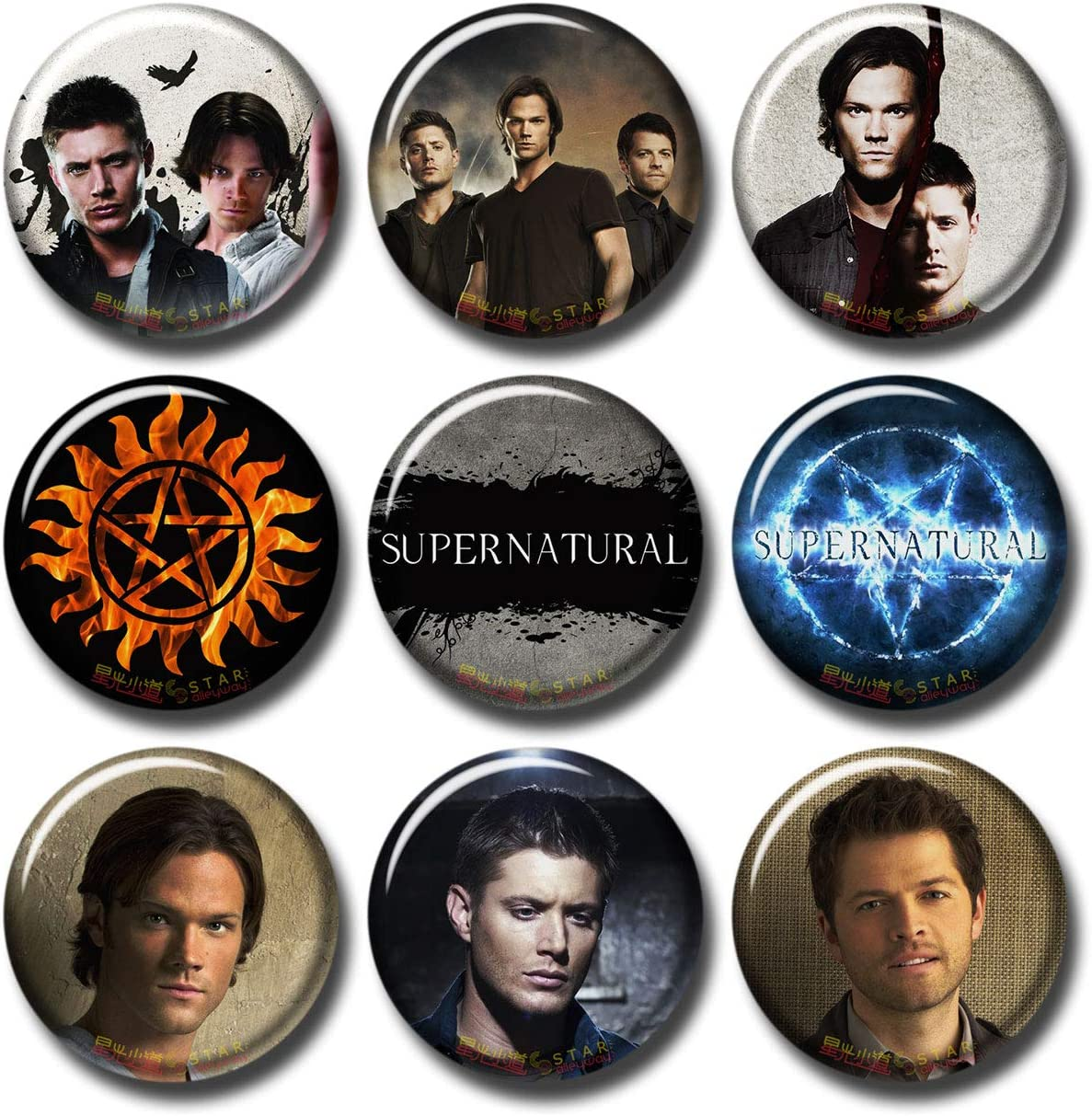 Supernatural 9 pcs Button Fridge Magnets Set Pack TV Series 253-P003 Demon Logos Dean Sam Winchester Castiel,Party Favors Supplies Gifts Home Decor (Round 1.5 inch|3.7cm)