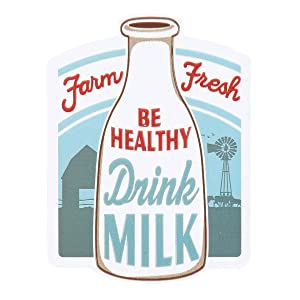 Open Road Brands Vintage Retro Drink Milk Embossed Metal Magnet Art - an Officially Licensed Product Great Addition to Add What You Love to Your Home/Garage Decor