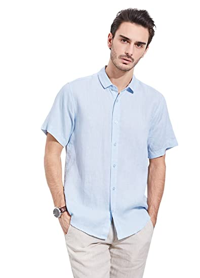 1c17ba8ee66 UAISI Men Short Sleeve Linen Shirt  Amazon.co.uk  Clothing