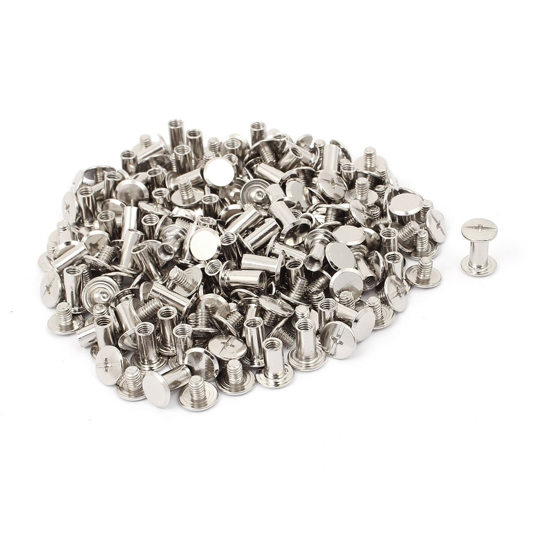 uxcell M5x10mm Binding Chicago Screw Post Silver