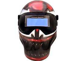 Save Phace Auto Darkening Welding Helmet Marvel Carnage EFP F-Series - Ear to Ear Vision Welder Hood Grinding Mask with 4.3 x