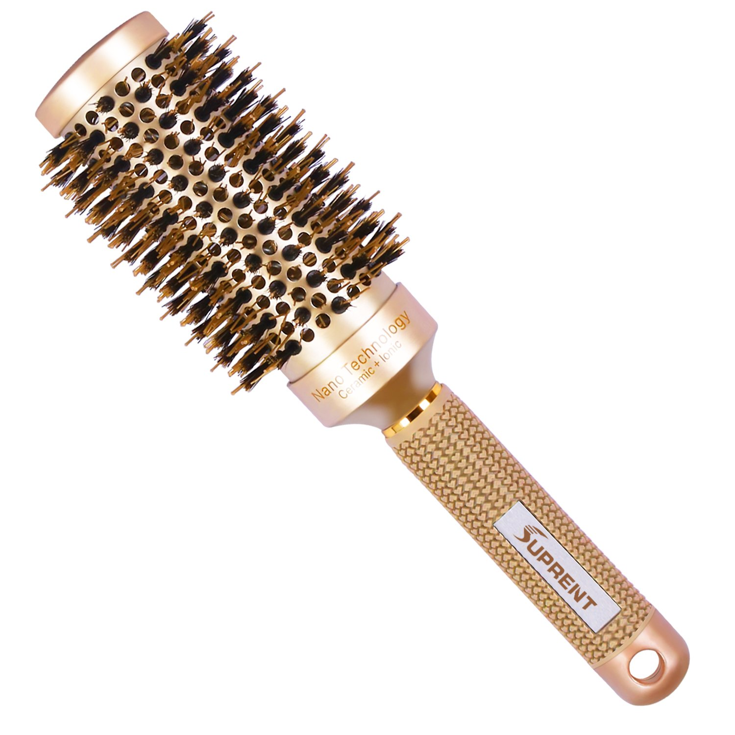 SUPRENT Ceramic Round Brush for Blow Drying with Boar Bristle, Hair Brush for Hair Drying, Styling, Curling, Adding Hair Volume and Shine(2 inch) Adding Hair Volume and Shine(2 inch)