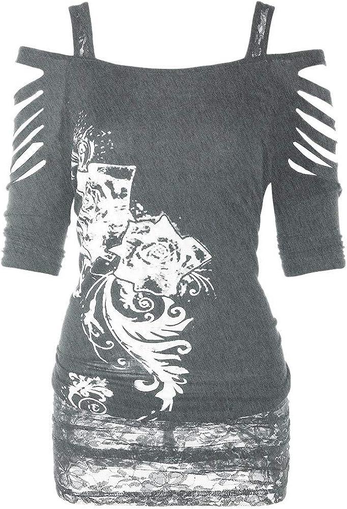 Camisetas para Mujer, Lenfesh Camisas Camisa Moda de Mujer Rock Gótica Blusa Top Camisa Casual de Mujer Manga Corta Crop Tops con Hombros Descubiertos: Amazon.es: Ropa y accesorios