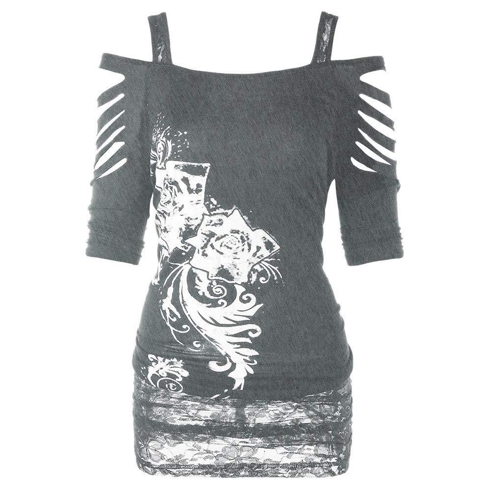 FRAUIT Damen Gothic Shirt Bauchfrei Stickerei Bluse Tr/ägerlos T-Shirt L/ässige Ripped Sling Kleid Schulterfrei Tunika Bodycon Cut Out Kurzarmshirt Oberteil Tops Freizeit Party Kleidung