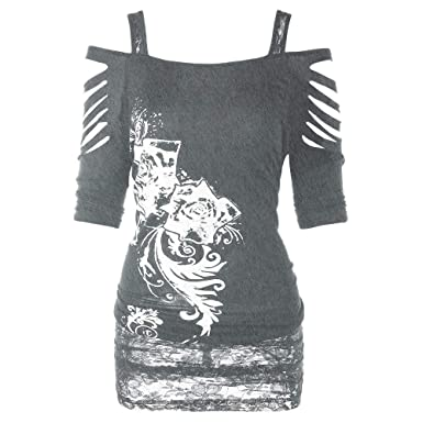 cd8e76fb7e0d9 Lolittas Goth Skull Tops Women Ladies T Shirt Pullover Sweatshirt Blouse  Tunic Plus Size Sexy Off Shoulder Long Sleeve Casual Loose  Amazon.co.uk   Clothing