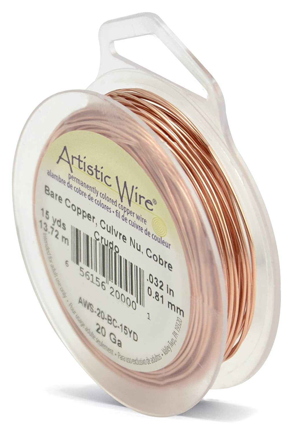 Beadalon 15-Yards Artistic 20-Gauge Bare Wire, Copper AWS-20-BC-15YD