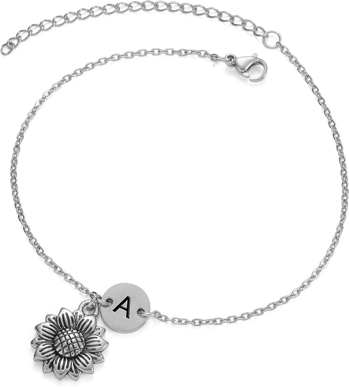 Joycuff Anklets for Women with Initial Silver Sunflower Charm Link Jewelry Foot Bracelets for Teen Girls Alphabet A to Z