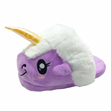 JYSPORT Pantuflas de felpa ligeras para mujer, diseño de unicornio y lunares,
