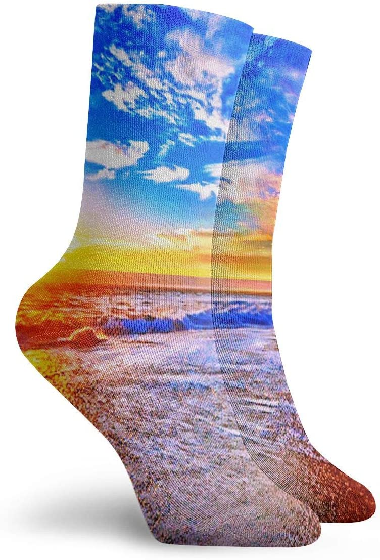 WEEDKEYCAT Sunrise Summer Beach Painting Adult Short Socks Cotton Gym Socks for Mens Womens Yoga Hiking Cycling Running Soccer Sports