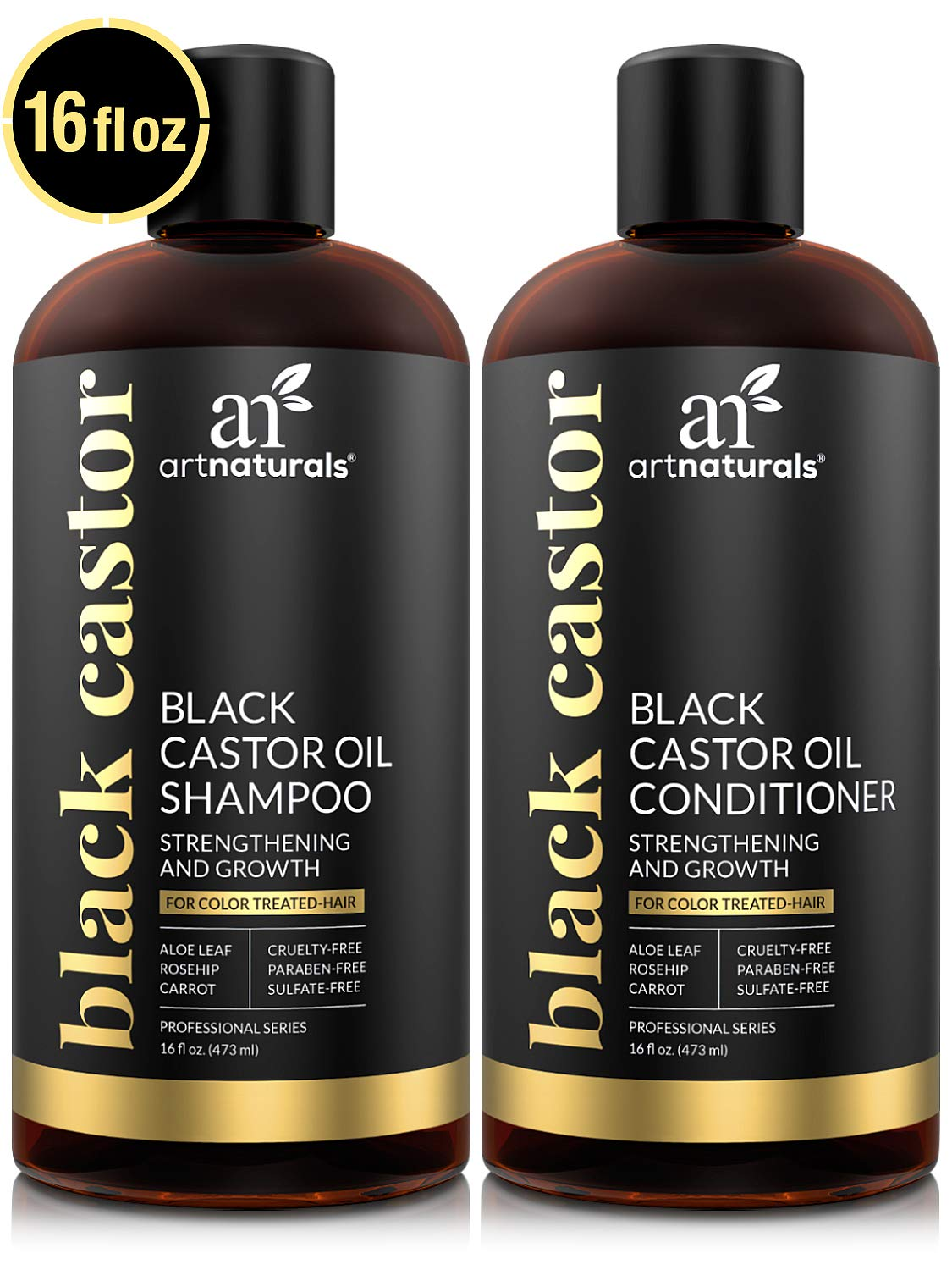 ArtNaturals Black Castor-Oil Shampoo and Conditioner - (2 x 16 Fl Oz / 473ml) - Treatment to Strengthen, Grow and Restore Dry and Damaged Hair - Jamaican Castor by ArtNaturals