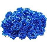 【19blue】 バラ 造花 50個 8cm ブーケ ローズ 薔薇 結婚式 装飾 (ブルー)