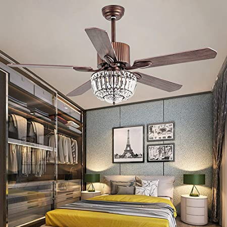 Andersonlight Lighting 52 Crystal Ceiling Fan with Remote Control – Super Quiet Fan, Rustic Wood Blades, Crystal Chandelier Light, 52-Inch Brown Indoor Ceiling Fan Light, New Bronze