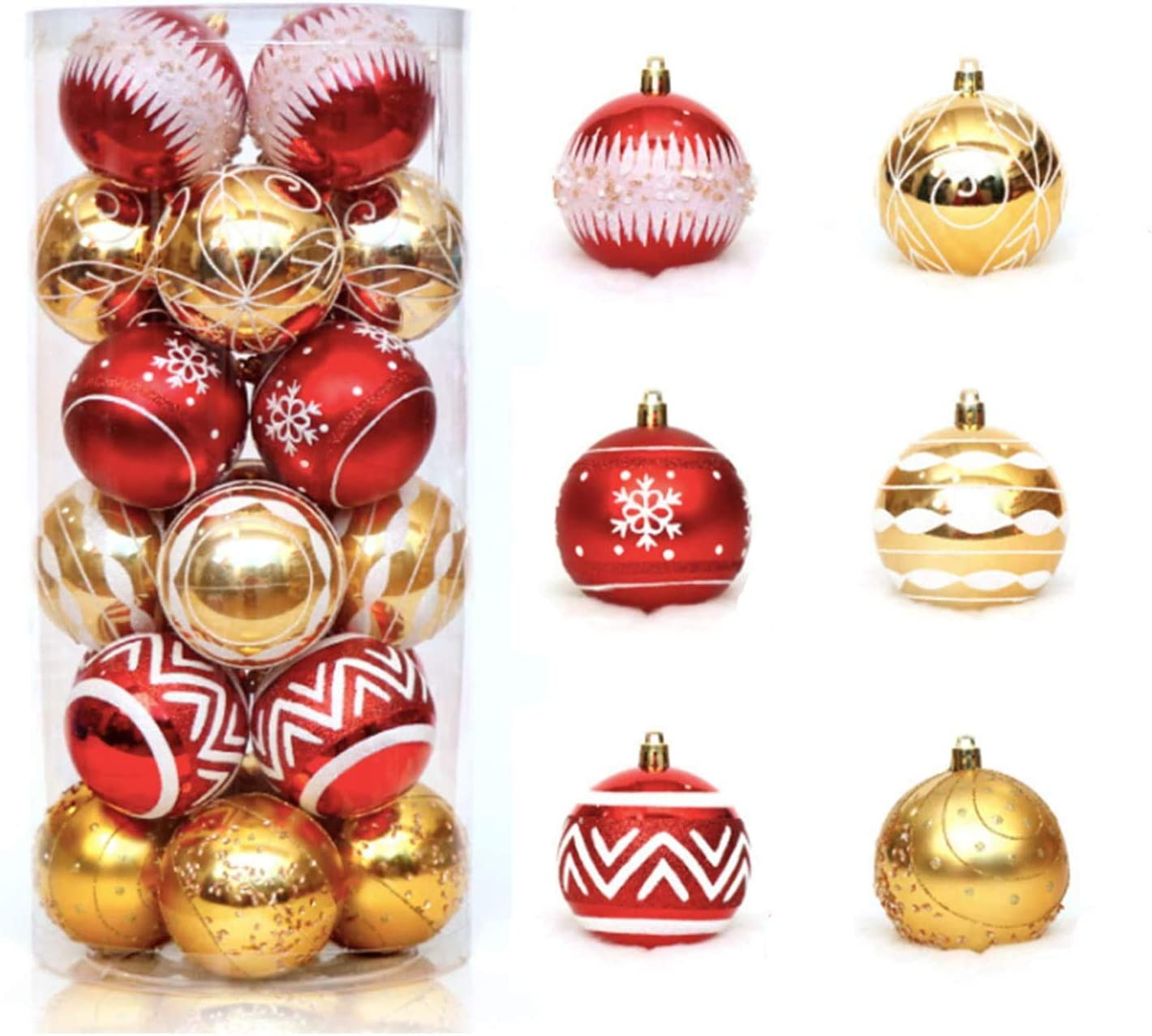 Coobbar 24 Count Christmas Ball Ornaments Shatterproof Christmas Tree Decoration Shiny Matte Balls For Xmas Tree Decorations 2 36inches 6mm Traditional Red 2 36 Kitchen Dining