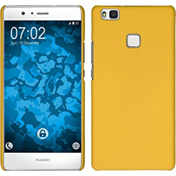 PhoneNatic Funda Rígida Compatible con Huawei P9 Lite - Goma Amarillo - Cover Cubierta + Protector de Pantalla
