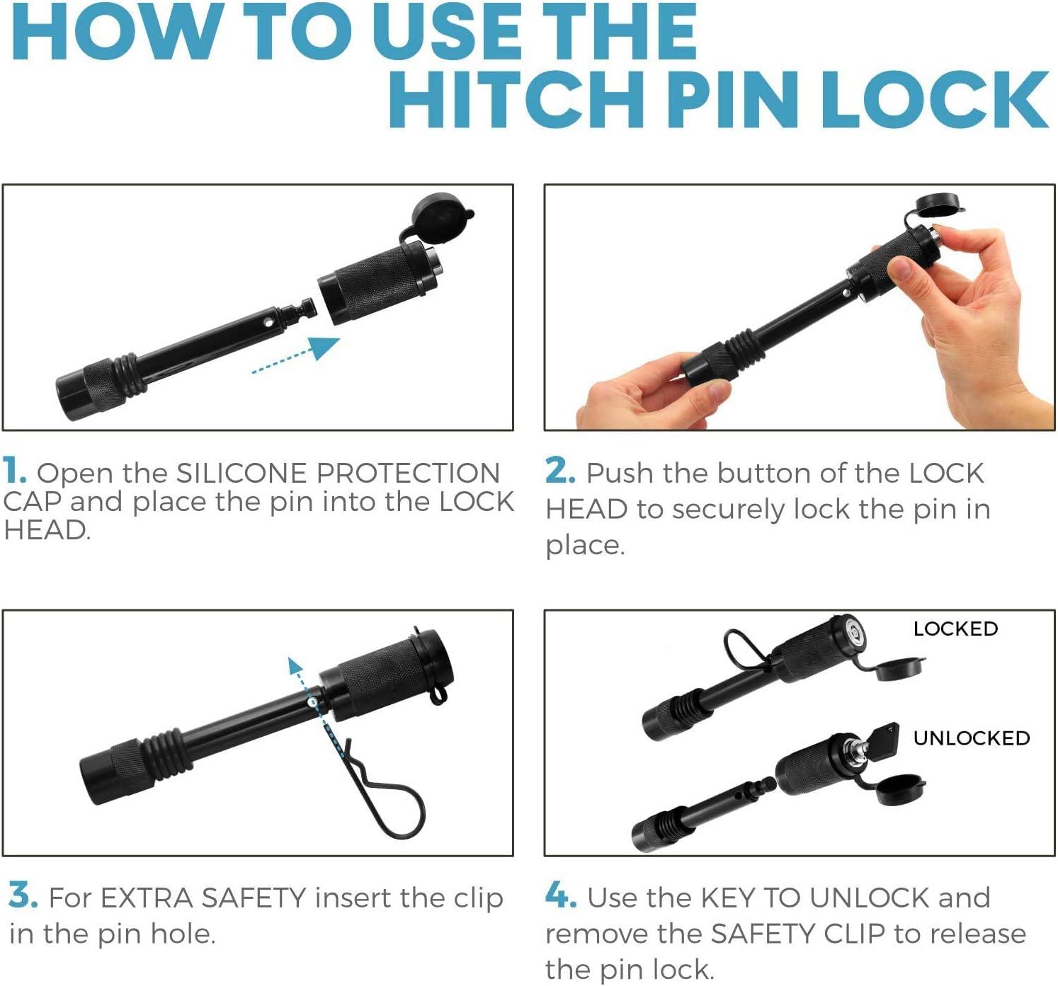 Namvo Juego de pernos de bloqueo de 1//2 y 5//8 con un clip de seguridad diez anillos antisonajeros y dos llaves.