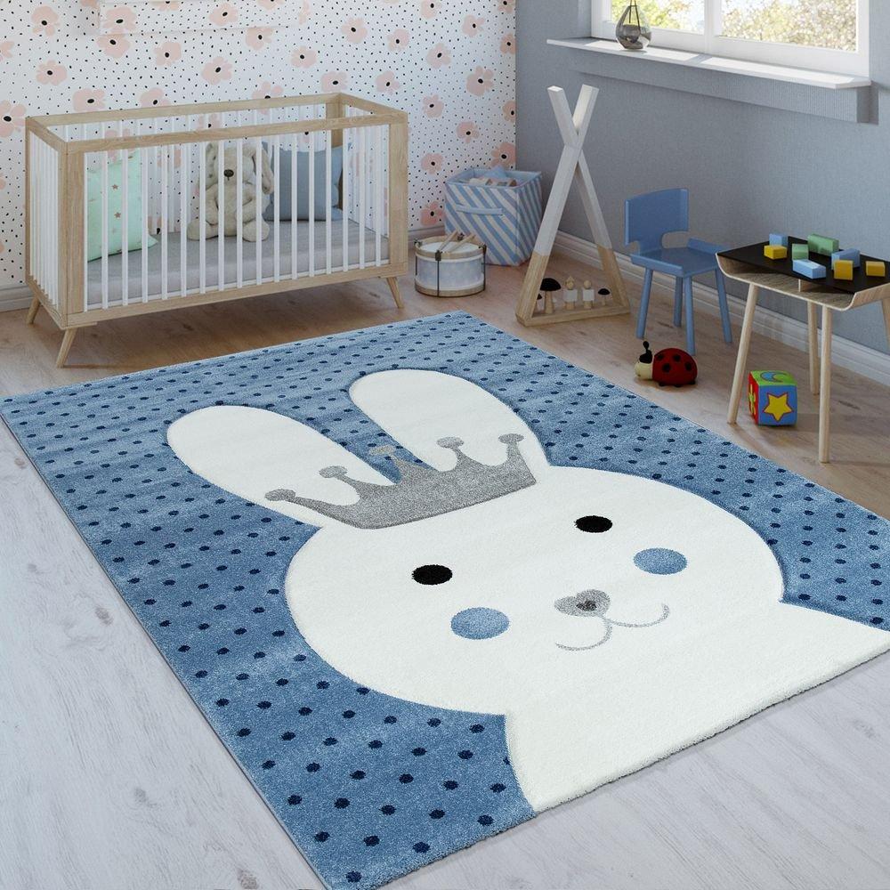 Paco Home Kinderteppich Indigo Blau Modern Trend Hase Mit Krone Gepunktet 3D Kurzflor, Grösse:120x170 cm