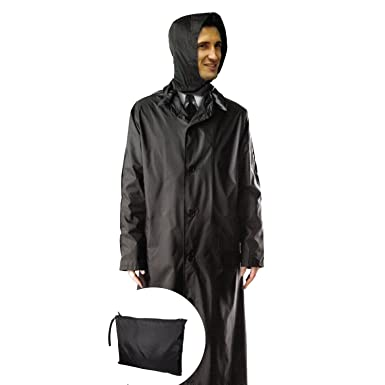 Mens 100% Nylon Long Raincoat - Zip in Hood - With Travel Pouch at ...