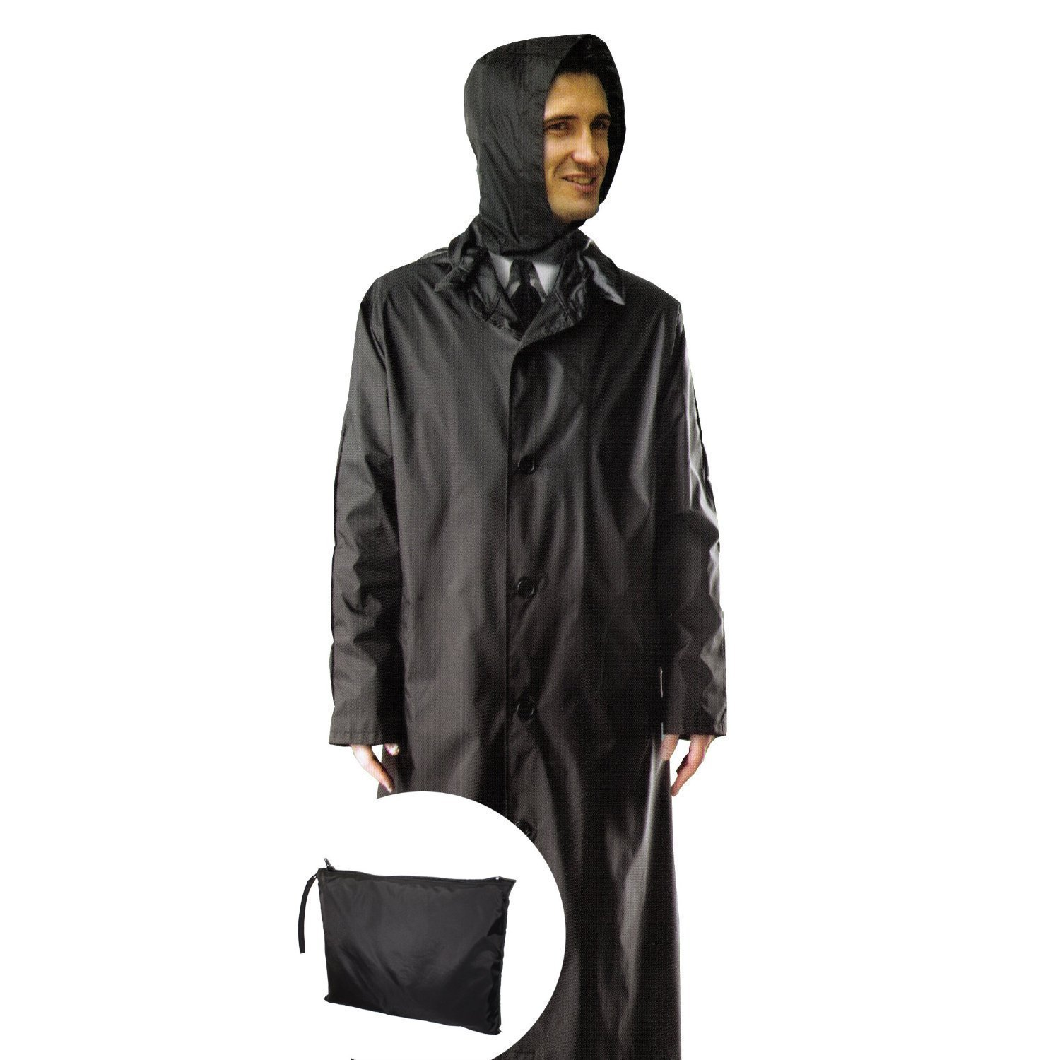 Gilbins Mens 100% Nylon Raincoat - Zip in Hood - With Travel Pouch - 3X Large - Black