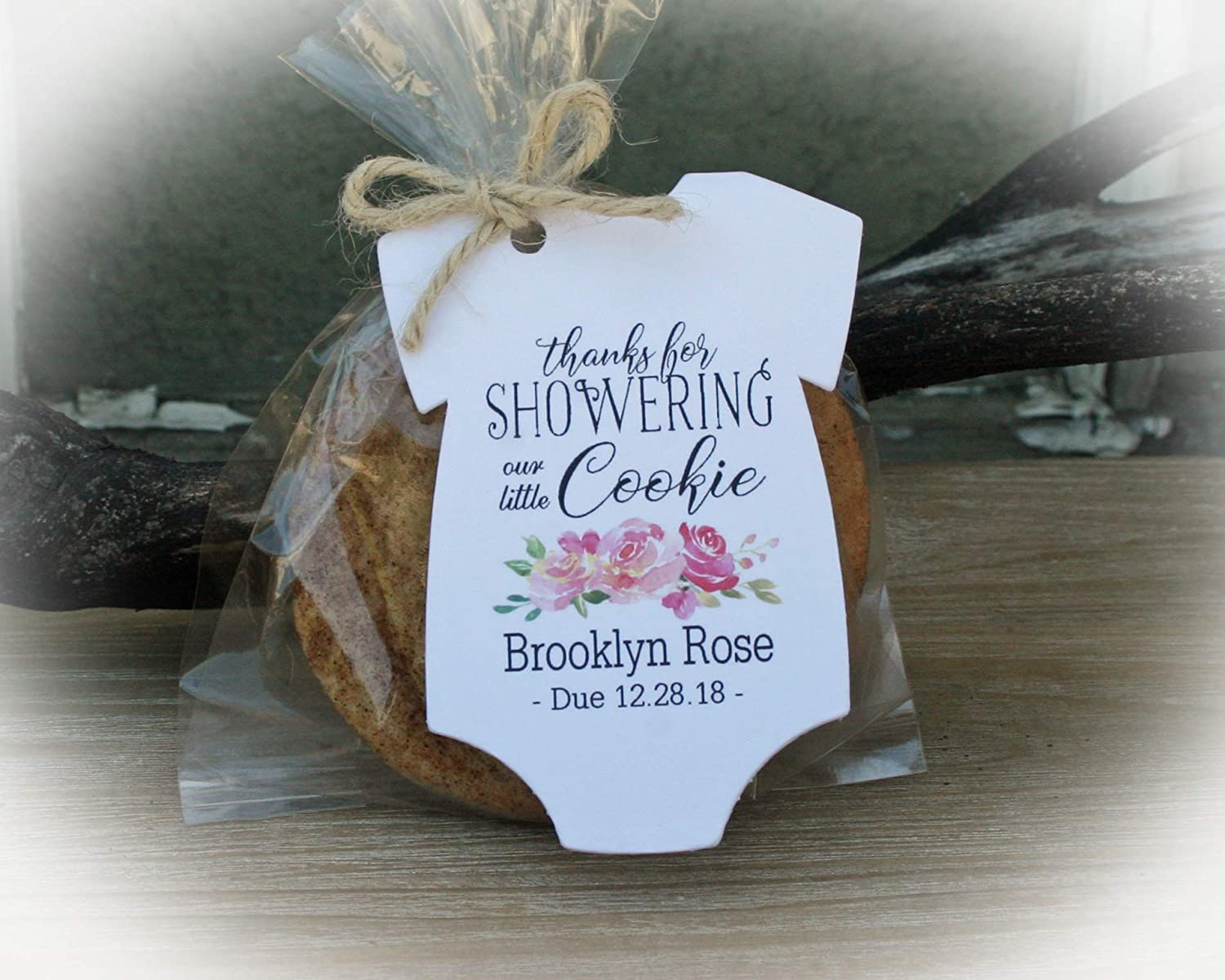 Amazon Com Cookie Baby Shower Favor Tag For Girl Baby Shower Favors